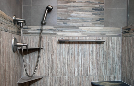 Bathroom Remodeling, large walk-in shower and whirlpool tub, natural stone accent, shower bench